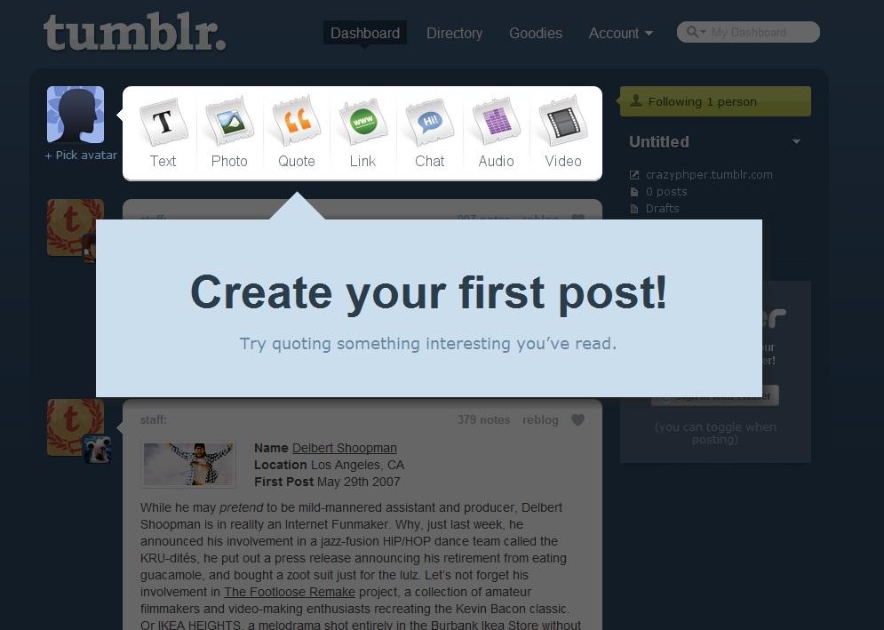 Facebook & Tiwtter的强劲的对手——tumblr的设计感想