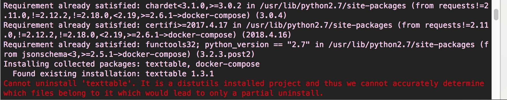 删除distutils installed的内容,顺畅安装docker-compose